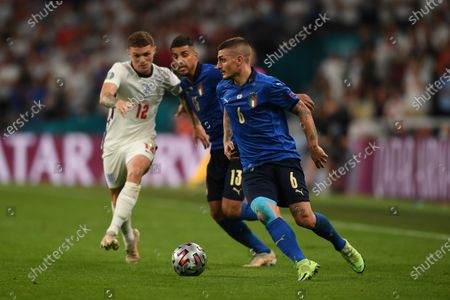 """Marco Verratti (Italy)Emerson Palmieri (Italy)Kieran Trippier (England)                     during the Uefa  """"European Championship 2020 Finals match between  Italy 4-3 England  at Wembley Stadium in London, England."""