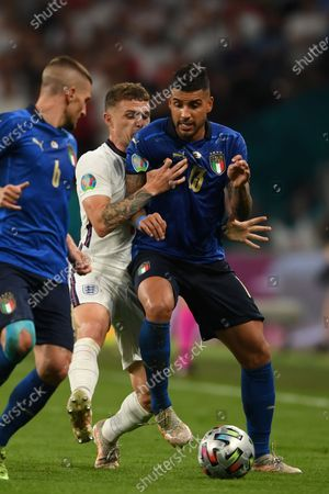 """Emerson Palmieri (Italy)Kieran Trippier (England)Marco Verratti (Italy)                       during the Uefa  """"European Championship 2020 Finals match between  Italy 4-3 England  at Wembley Stadium in London, England."""