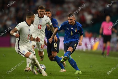 "Marco Verratti (Italy)Emerson Palmieri (Italy)Kieran Trippier (England)Kyle Walker (England)                     during the Uefa  ""European Championship 2020 Finals match between  Italy 4-3 England  at Wembley Stadium in London, England."