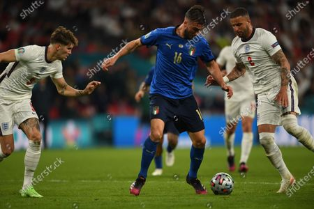 """Stock Image of John Stones (England)Bryan Cristante (Italy)Kyle Walker (England)                     during the Uefa  """"European Championship 2020 Finals match between  Italy 4-3 England  at Wembley Stadium in London, England."""
