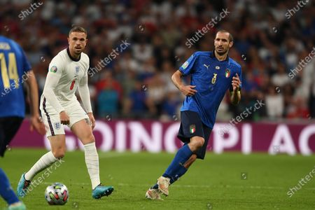 """Jordan Henderson (England)Giorgio Chiellini (Italy)                     during the Uefa  """"European Championship 2020 Finals match between  Italy 4-3 England  at Wembley Stadium in London, England."""