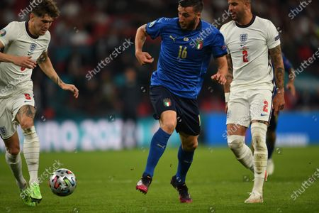 """John Stones (England)Bryan Cristante (Italy)Kyle Walker (England)                            during the Uefa  """"European Championship 2020 Finals match between  Italy 4-3 England  at Wembley Stadium in London, England."""