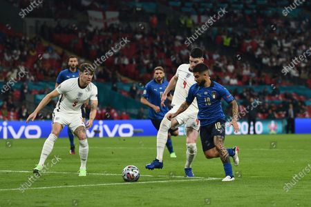 """Stock Photo of Lorenzo Insigne (Italy)Declan Rice (England)John Stones (England)                     during the Uefa  """"European Championship 2020 Finals match between  Italy 4-3 England  at Wembley Stadium in London, England."""