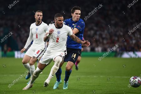 """Stock Picture of Kyle Walker (England)Federico Chiesa (Italy)Jordan Henderson (England)                     during the Uefa  """"European Championship 2020 Finals match between  Italy 4-3 England  at Wembley Stadium in London, England."""