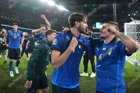 """Manuel Locatelli (Italy)Marco Verratti (Italy)                        during the Uefa  """"European Championship 2020 Finals match between  Italy 4-3 England  at Wembley Stadium in London, England."""