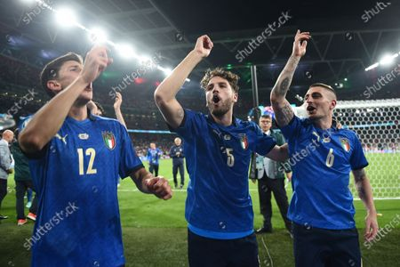 """Matteo Pessina (Italy)Manuel Locatelli (Italy)Marco Verratti (Italy)                during the Uefa  """"European Championship 2020 Finals match between  Italy 4-3 England  at Wembley Stadium in London, England."""