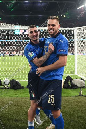 """Marco Verratti (Italy)Rafael Toloi (Italy)                     during the Uefa  """"European Championship 2020 Finals match between  Italy 4-3 England  at Wembley Stadium in London, England."""