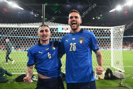 """Stock Image of Marco Verratti (Italy)Rafael Toloi (Italy)                  during the Uefa  """"European Championship 2020 Finals match between  Italy 4-3 England  at Wembley Stadium in London, England."""