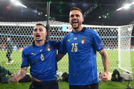"""Stock Photo of Marco Verratti (Italy)Rafael Toloi (Italy)                        during the Uefa  """"European Championship 2020 Finals match between  Italy 4-3 England  at Wembley Stadium in London, England."""