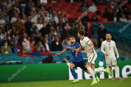 "Domenico Berardi (Italy)John Stones (England)                     during the Uefa  ""European Championship 2020 Finals match between  Italy 4-3 England  at Wembley Stadium in London, England."