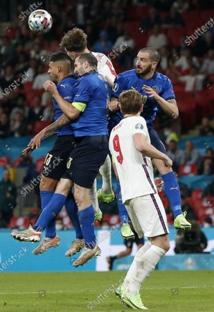(210712) - LONDON, July 12, 2021 (Xinhua) - England's John Stones (top) skilled during the final between England and Italy at the UEFA EURO 2020 in London, Britain, on July 11, 2021.