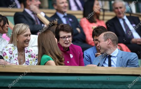 Stock Photo of Catherine Duchess of Cambridge, and Prince William, speak to Martina Navratilova and Billie Jean King at Wimbledon on Ladies Final Day, with the Final taking place on Centre Court