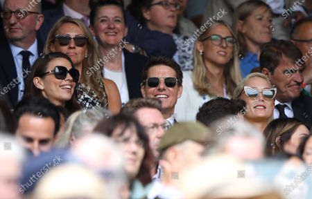 Hayley Atwell, Tom Cruise and Pom Klementieff at Wimbledon on Ladies Final Day, with the Final taking place on Centre Court