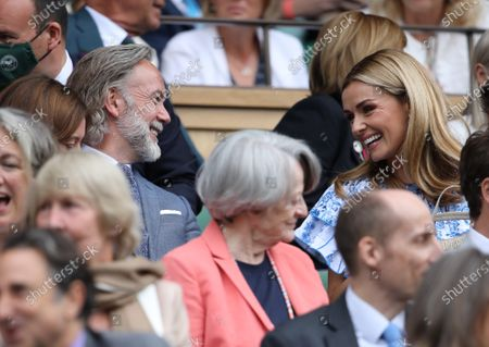 Marcus Wareing (chef) Katherine Jenkins at Wimbledon on Ladies Final Day, with the Final taking place on Centre Court