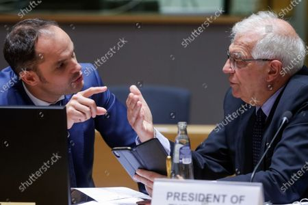 Slovenian Foreign Minister Anze Logar (L) and European Union foreign policy chief Josep Borrell attend a meeting of EU foreign ministers, at the European Council in Brussels, Belgium, 12 July 2021. EU foreign affairs minister will informally exchange views with the Israeli Minister of Foreign Affairs, Yair Lapid.