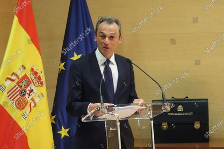 Former Spanish Science and Innovation Minister Pedro Duque delivers a speech during the transfer of powers ceremony of he successor Diana Morant (unseen) at Science Ministry in Madrid, Spain, 12 July 2021. Spanish Prime Minister, Pedro Sanchez, announced a deep change in his Cabinet aimed to boost economic recovery after the impact of COVID-19 pandemic.