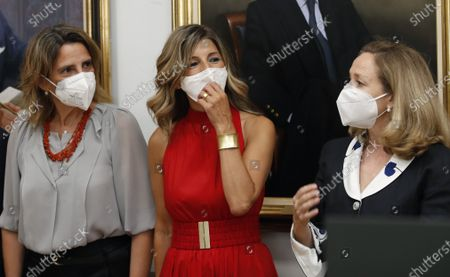 (L-R) Spanish Deputy Prime Ministers Teresa Ribera, Yolanda Diaz and Nadia Calvino attend the transfer of powers ceremony of Felix Bolanos (unseen) as new Spanish Presidency, Relations with Spanish Parliament and Democratic Memory Minister at La Moncloa Palace in Madrid, Spain, 12 July 2021. Spanish Prime Minister, Pedro Sanchez, announced a deep change in his Cabinet aimed to boost economic recovery after the impact of COVID-19 pandemic.