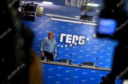 The leader of the Bulgarian GERB party, Boyko Borissov arrives for the press conference after the Parliamentary elections in Sofia, Bulgaria, 12 July 2021. According to the latest data from the Parliamentary elections, Slavi Trifonov party 'There is such a folk', is less than half a percent ahead of GERB party with leader Boiko Borissov.