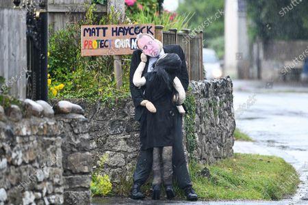 Editorial image of Matt Hancock scarecrow, Southgate, Gower, Swansea, South Wales, UK - 11 Jul 2021