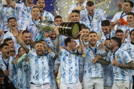 Lionel Messi and Argentina celebrate with trophy after winning the final of Copa America 2021 a football match between Argentina and Brazil 1-0 with the winning goal being scored by Angel Di Maria, final was held at the Maracana Stadium in Rio de Janeiro, RJ, Brazil on Saturday July 10th 2021.