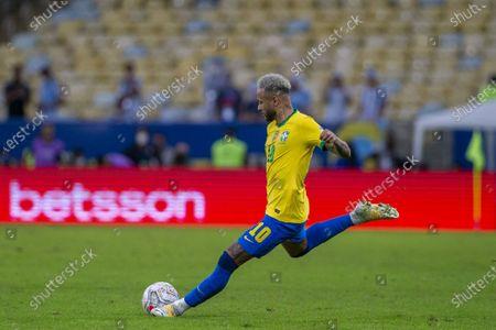Brazilian forward Neymar Jr during the final of Copa America 2021, a football match between Argentina and Brazil, held at the Maracana Stadium in Rio de Janeiro, RJ, Brazil on Saturday July 10th 2021.
