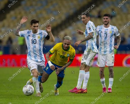 Stock Image of Argentina forward Lionel Messi and Brazilian forward Neymar Jr during the final of Copa America 2021, a football match between Argentina and Brazil, held at the Maracana Stadium in Rio de Janeiro, RJ, Brazil on Saturday July 10th 2021.