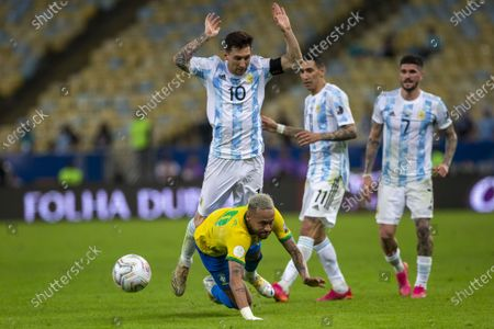 Stock Picture of Argentina forward Lionel Messi and Brazilian forward Neymar Jr during the final of Copa America 2021, a football match between Argentina and Brazil, held at the Maracana Stadium in Rio de Janeiro, RJ, Brazil on Saturday July 10th 2021.