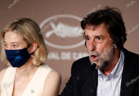 Alba Rohrwacher (L) and Nanni Moretti attend the press conference for 'Tre Piani (Three Floors)' during the 74th annual Cannes Film Festival, in Cannes, France, 12 July 2021. The movie is presented in the Official Competition of the festival which runs from 06 to 17 July.
