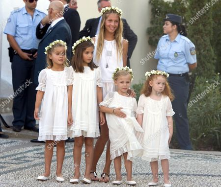 Ana Maria Morales (left), Arrietta Morales (second left) and Princess Maria-Olympia of Greece (centre)