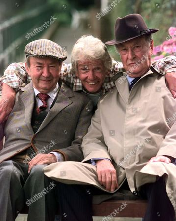 Stock Photo of Tom Owen Son Of The Late Bill Owen (compo) Is To Play His Long Lost Son Tom Simmonite In Next Years Series Of Last Of The Summer Wine. Pictured With L: Clegg (peter Sallis) And R: Truly (frank Thornton)