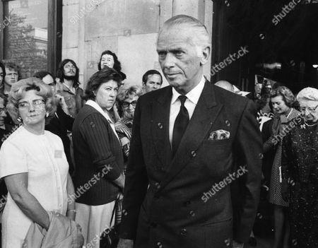 American Actor Douglas Fairbanks Jr. Kbe (died 7/5/2000) Is Seen Here Leaving A Memorial Service For Actor Jack Hawkins.