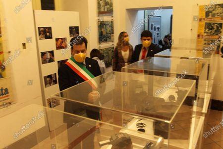 """The photographic exhibition """" """"I 100 volti di Marcello Mastroianni"""" by the director and producer Giuseppe Alessio Nuzzo has been inaugurated at the Museo del Cinema del territorio e della Penisola Sorrentina di Vico Equense.In picture Andrea Buonocore,mayor of Vico Equense"""