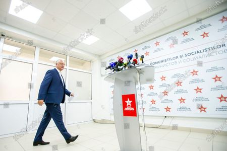 Moldovan former president Igor Dodon, leader of the Socialists and Communists electoral block, arrives at a press conference at the headquarters of his party in Chisinau, Moldova, 12 July 2021. Dodon said that his party remains in active opposition and will monitor the situation in the country with active and energetic work in Parliament.