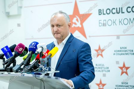 Moldovan former president Igor Dodon, leader of the Socialists and Communists electoral block, speaks during a press conference at the headquarters of his party in Chisinau, Moldova, 12 July 2021. Dodon said that his party remains in active opposition and will monitor the situation in the country with active and energetic work in Parliament.