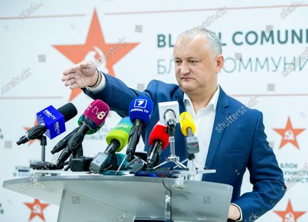 Stock Picture of Moldovan former president Igor Dodon, leader of the Socialists and Communists electoral block, gestures during a press conference at the headquarters of his party in Chisinau, Moldova, 12 July 2021. Dodon said that his party remains in active opposition and will monitor the situation in the country with active and energetic work in Parliament.