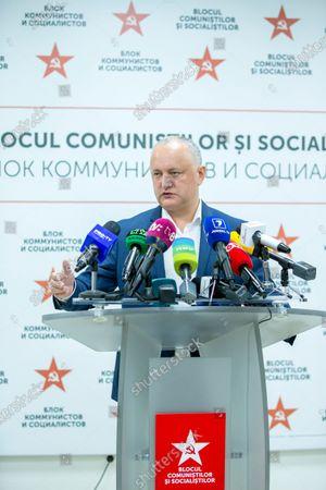 Editorial photo of Socialist leader Igor Dodon's press conference in Chisinau, Moldova Republic Of - 12 Jul 2021