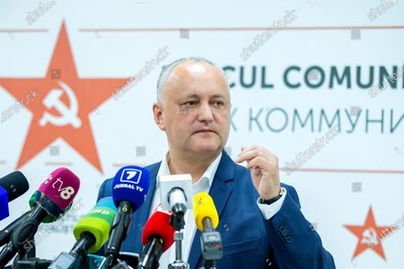 Stock Photo of Moldovan former president Igor Dodon, leader of the Socialists and Communists electoral block, speaks during a press conference at the headquarters of his party in Chisinau, Moldova, 12 July 2021. Dodon said that his party remains in active opposition and will monitor the situation in the country with active and energetic work in Parliament.
