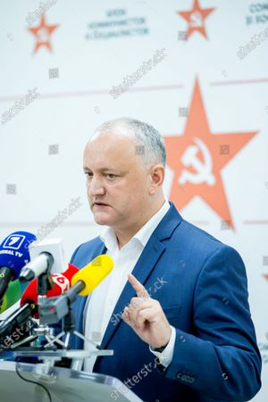 Stock Image of Moldovan former president Igor Dodon, leader of the Socialists and Communists electoral block, gestures during a press conference at the headquarters of his party in Chisinau, Moldova, 12 July 2021. Dodon said that his party remains in active opposition and will monitor the situation in the country with active and energetic work in Parliament.