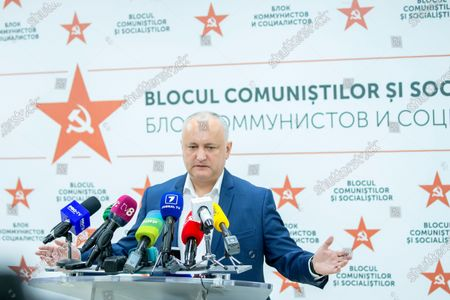 Moldovan former president Igor Dodon, leader of the Socialists and Communists electoral block, gestures during a press conference at the headquarters of his party in Chisinau, Moldova, 12 July 2021. Dodon said that his party remains in active opposition and will monitor the situation in the country with active and energetic work in Parliament.