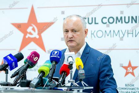 Editorial image of Socialist leader Igor Dodon's press conference in Chisinau, Moldova Republic Of - 12 Jul 2021