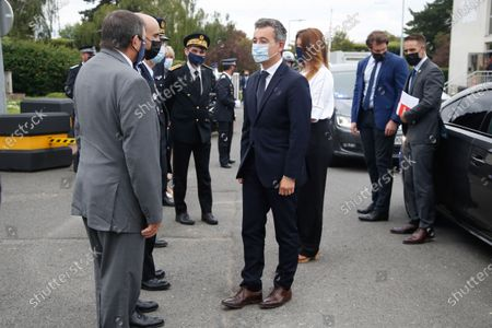 Arrival of Mr Gerald Darmanin, Minister of the Interior and Madame Marlene Schiappa, Minister Delegated to the Minister of the Interior, in charge of citizenship at the National Police Day ceremony at the Zonal Directorate of the CRS Île-de-France de Velizy