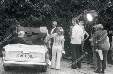 Stock Photo of Stanley Lebor, Edward Woodward, behind the scenes, filming.