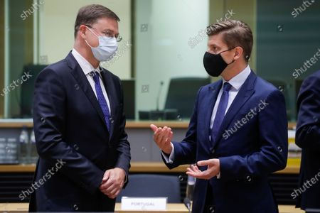 European Commission vice-president Valdis Dombrovskis and Croatian Minister of finance Zdravko Maric (R) during a meeting of Eurogroup Finance Ministers, at the European Council in Brussels, Belgium, 12 July 2021. Finance ministers will exchange views on the international dimension of euro area economic and financial policies with Janet Yellen, the United States Secretary of the Treasury. The discussion is expected to focus on the economic recovery as well as on banking and financial stability issues.