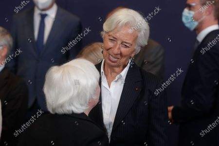 United States Secretary of the Treasury Janet Yellen (L) and President of European Central Bank (ECB) Christine Lagarde during a family picture at the end of a meeting of Eurogroup Finance Ministers, at the European Council in Brussels, Belgium, 12 July 2021.