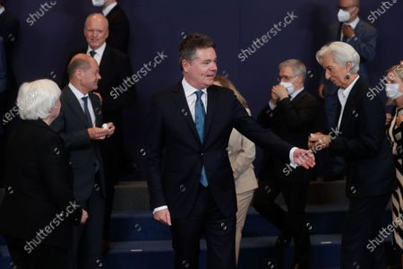 United States Secretary of the Treasury Janet Yellen (L), Eurogroup president Paschal Donohoe (C) and President of European Central Bank (ECB) Christine Lagarde (R) during a family picture at the end of a meeting of Eurogroup Finance Ministers, at the European Council in Brussels, Belgium, 12 July 2021.