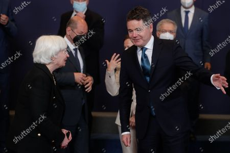 United States Secretary of the Treasury Janet Yellen (L) and Eurogroup president Paschal Donohoe (R) during a family picture at the end of a meeting of Eurogroup Finance Ministers, at the European Council in Brussels, Belgium, 12 July 2021.