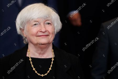 United States Secretary of the Treasury Janet Yellen during a family picture at the end of a meeting of Eurogroup Finance Ministers, at the European Council in Brussels, Belgium, 12 July 2021.