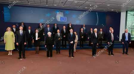 United States Secretary of the Treasury Janet Yellen (C-L), Eurogroup president Paschal Donohoe (C) and President of European Central Bank (ECB) Christine Lagarde (C-R) during a family picture at the end of a meeting of Eurogroup Finance Ministers, at the European Council in Brussels, Belgium, 12 July 2021.