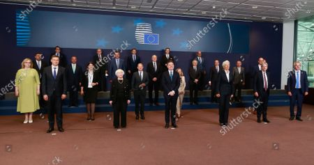 Stock Picture of (L-R front row) European Commission vice-president Valdis Dombrovskis, United States Secretary of the Treasury Janet Yellen, Eurogroup president Paschal Donohoe,  President of European Central Bank (ECB) Christine Lagarde and European Commissioner for Economy Paolo Gentiloni during a family picture at the end of a meeting of Eurogroup Finance Ministers, at the European Council in Brussels, Belgium, 12 July 2021.