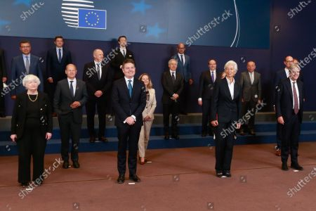 (L-R) United States Secretary of the Treasury Janet Yellen, German Finance Minister and Vice Chancellor Olaf Scholz, Eurogroup president Paschal Donohoe, Spanish Minister for Economy and Digitalization Nadia Calvino, President of European Central Bank (ECB) Christine Lagarde and European Commissioner for Economy Paolo Gentiloni during a family picture at the end of a meeting of Eurogroup Finance Ministers, at the European Council in Brussels, Belgium, 12 July 2021.